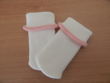 girls baby burial clothes socks white with PINK TRIM 1-2lb infant stillbirth