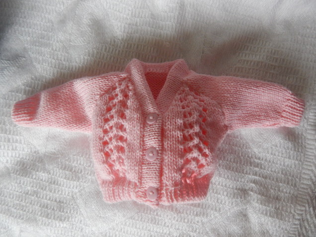 Girls baby burial clothes very small Knitted Cardigan TULIP born at 24-25 weeks
