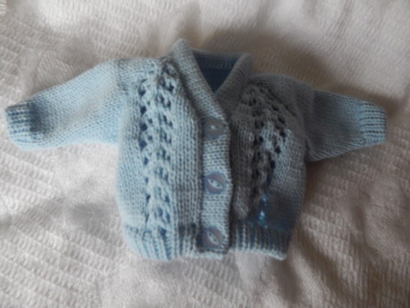 boys baby burial clothesLittle Knitted Cardigan BLUEBELL born at 24-25 weeks