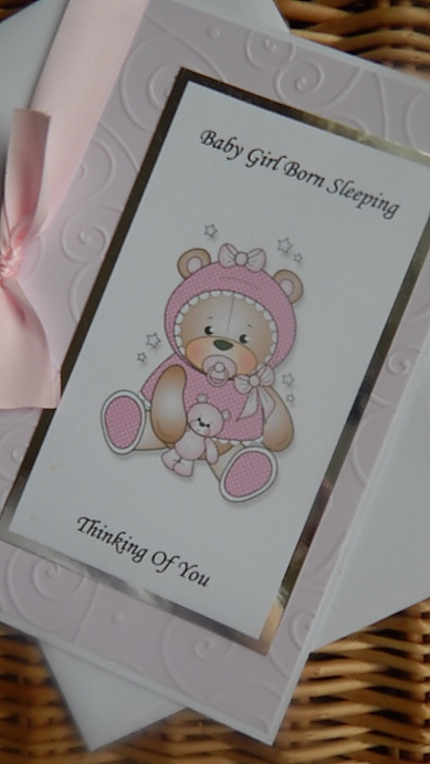 infant girl miscarriage cards burial bereavement STARY NIGHT in pink