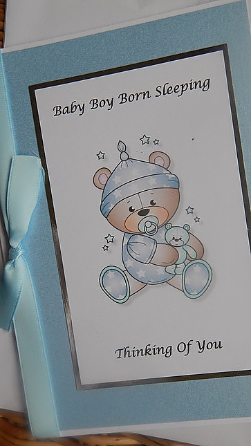 baby burial cards infant BOY card plus sympathy message  STARY NIGHT