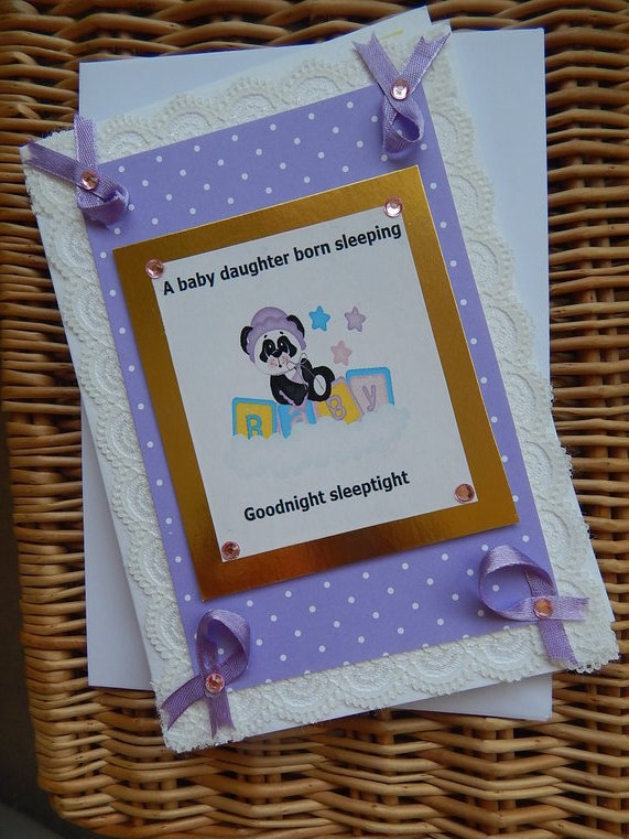babies sympathy cards Girl PANDA in LILAC baby loss with condolence message