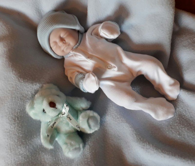 boys complete baby burial clothes born stillborn at 23-24 weeks white blue trim