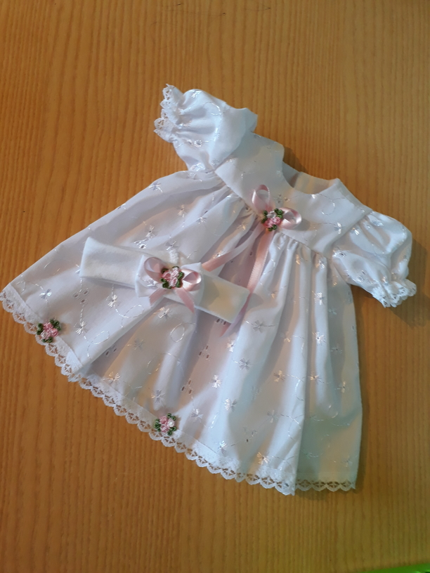infant girls burial clothes dress set white premature baby size 2-3lb Pink ROSE CLUSTER