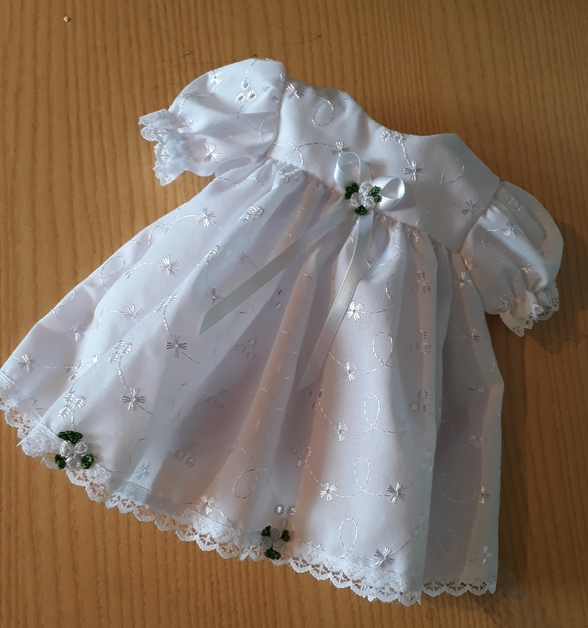 girls baby burial clothes White Dress ROSE CLUSTER size 2-3lb plus socks