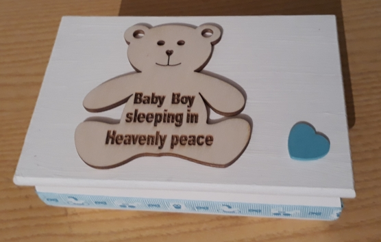 Baby Boys Cremation Ashes Casket wooden TEDDY IN HEAVEN born 24-30 weeks gestation