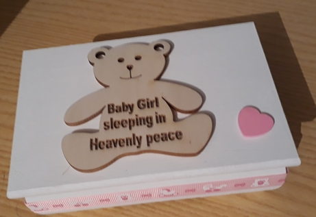 baby girls ashes casket wooden TEDDY IN HEAVEN white born at 24-30 weeks gestation
