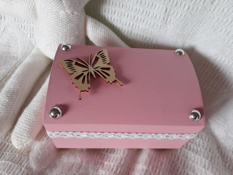 stillborn baby cremation ashes urn casket wooden Pink BUTTERFLY BABE