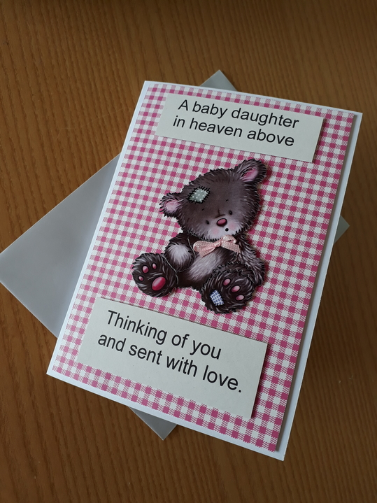 baby sympathy card daughter with sympathy quote  SENT WITH LOVE pink