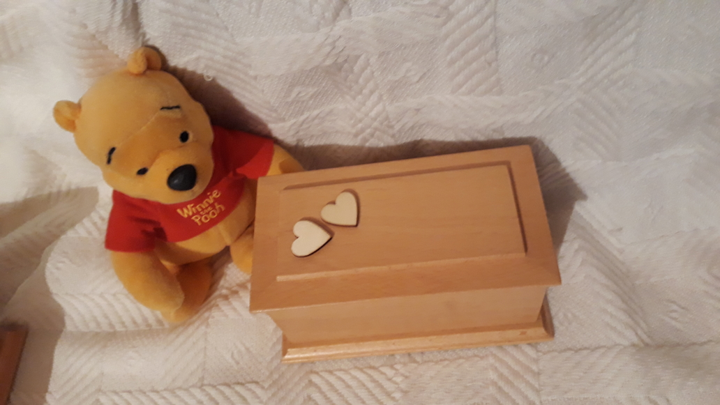 Premature baby ashes casket wooden urn stillborn at 26 - 32 weeks LOVE HEARTS