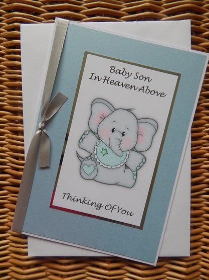 Baby Boy passed away card burial baby loss PRECIOUS MEMORIES elephant