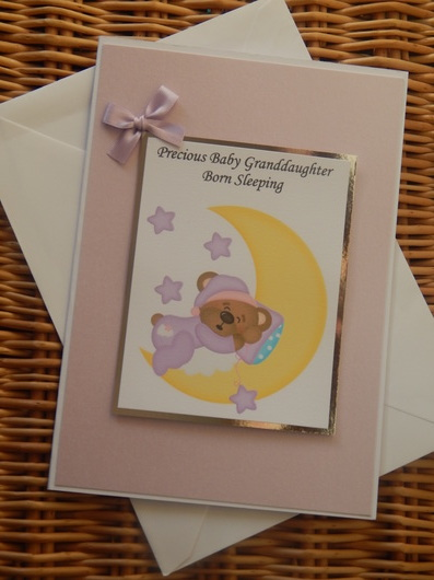 baby burial funeral cards babies SHIMMER N SHINE girls sympathy card