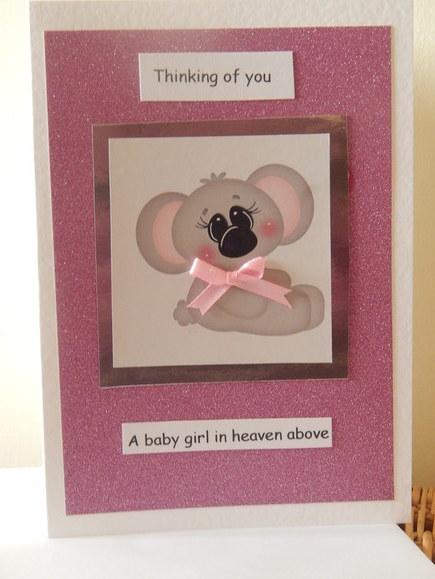 baby girls sympathy card baby loss burial service cards KOALA KISSES
