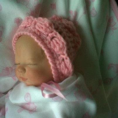 layette BONNET miscarried baby tiny hat 16cm babies funeral PINK MISS ELLE