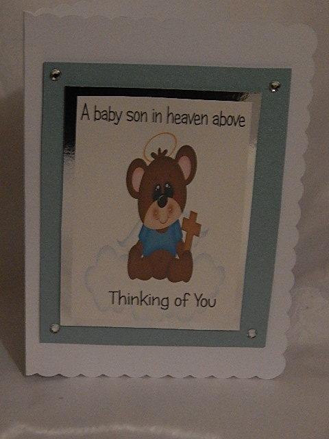 sympathy Cards baby boy HEAVEN ABOVE blue plus poem