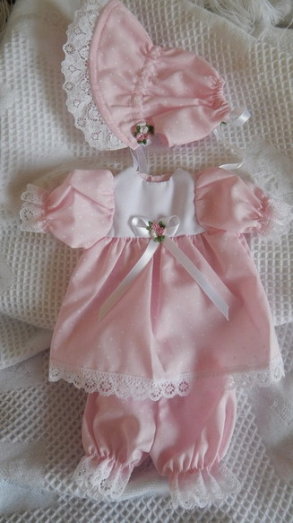 girls baby burial gown complete dress clothes  MINI POLKA DOTS born 22-24 week