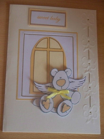 Unisex baby sympathy cards sympathy card for baby funeral cuddly bear  LEMON