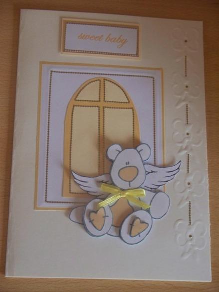 Unisex baby sympathy cards sympathy card for baby funeral cuddly bear  LEMON