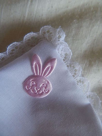 Girls Precious Baby Burial Pouches pink BUNNY RABBIT on white born19-20 week