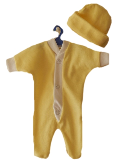 infant miscarriage unisex baby burial clothes 22-25 weeks 1-2lb LEMON