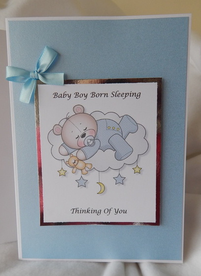 Baby sympathy card Blue IN THE CLOUDS baby loss