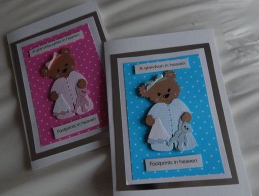 babies sympathy cards baby loss Grandson HEAVENS FOOTPRINTS blue