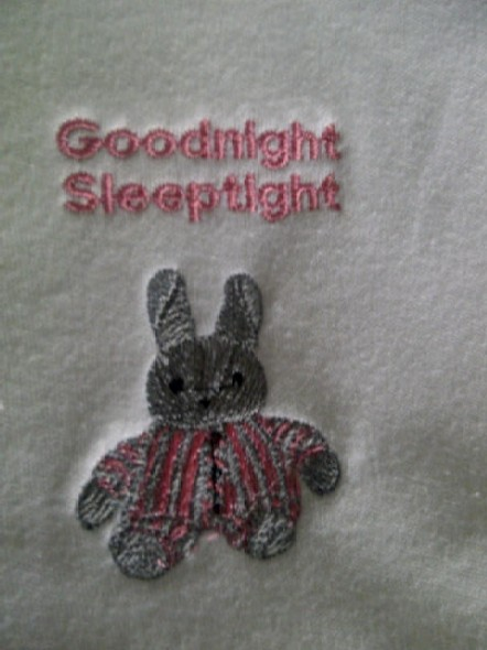 Tiny baby casket blanket embroided goodnight bunny PINK motif 20CM