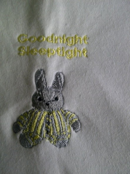 tiny baby burial blanket embroided Goodnight Bunny LEMON 20CM