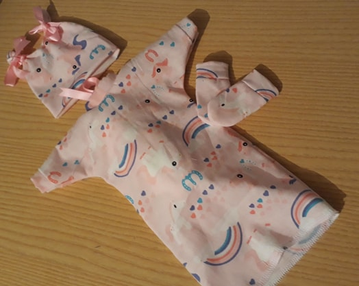 baptism dress girl baby burial gown full set born at 20 weeks UNICORNS N RAINBOWS