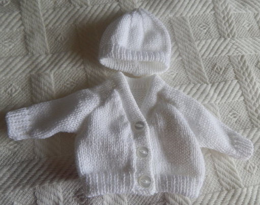 unisex baby burial clothes CARDIGAN SET White tiny delivered at 22-24 week