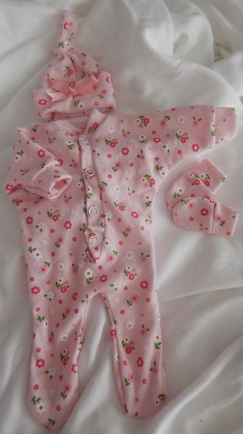 girls baby burial clothes micro prem tiny sizes complete outfit DAISYGARDEN 1-2LB
