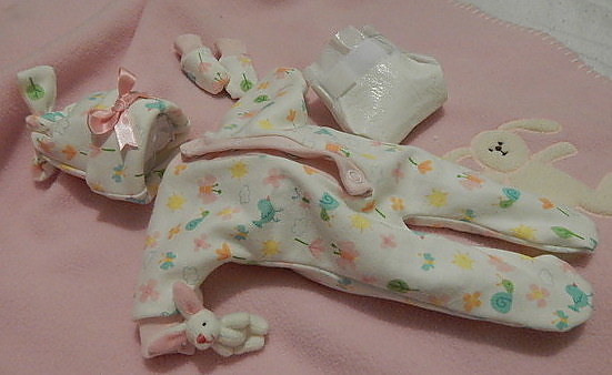 infant miscarriage girls baby burial clothes BUNNYS WONDERLAND born 23-24 week