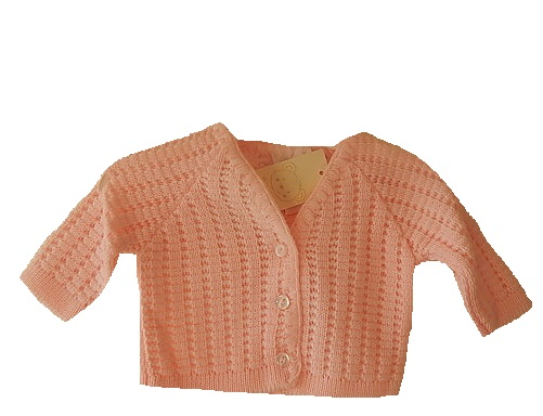 stillborn infant baby burial clothes cardigan pink 3-5lb NEAT KNITS