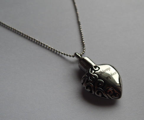 baby loss ASHES urn bereavement necklace cremation jewellery HEART PENDANT