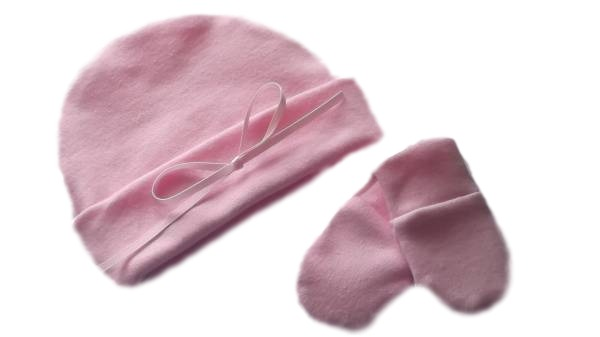 baby burial clothes infant stillbirth hat and mittens PASTEL PINK in 2-3lb