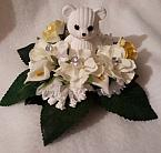artificial flowers baby grave pots FUNERAL WREATH 23cm BED ROSES cream mix