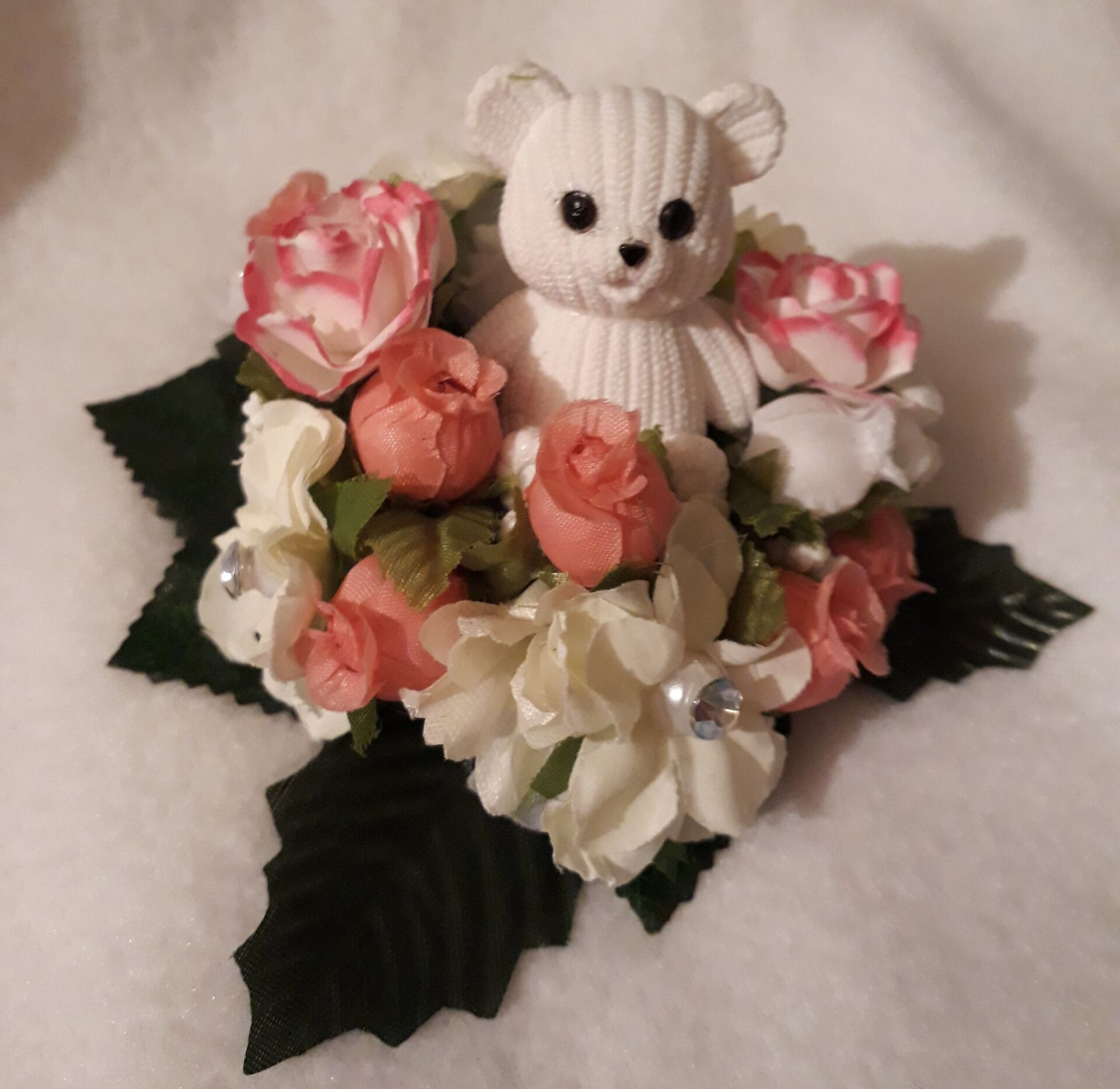 artificial flowers baby grave pots pink FUNERAL WREATH 23cm BED ROSES