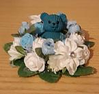 baby grave artificial flowers mini wreath BLUE bed roses with bear