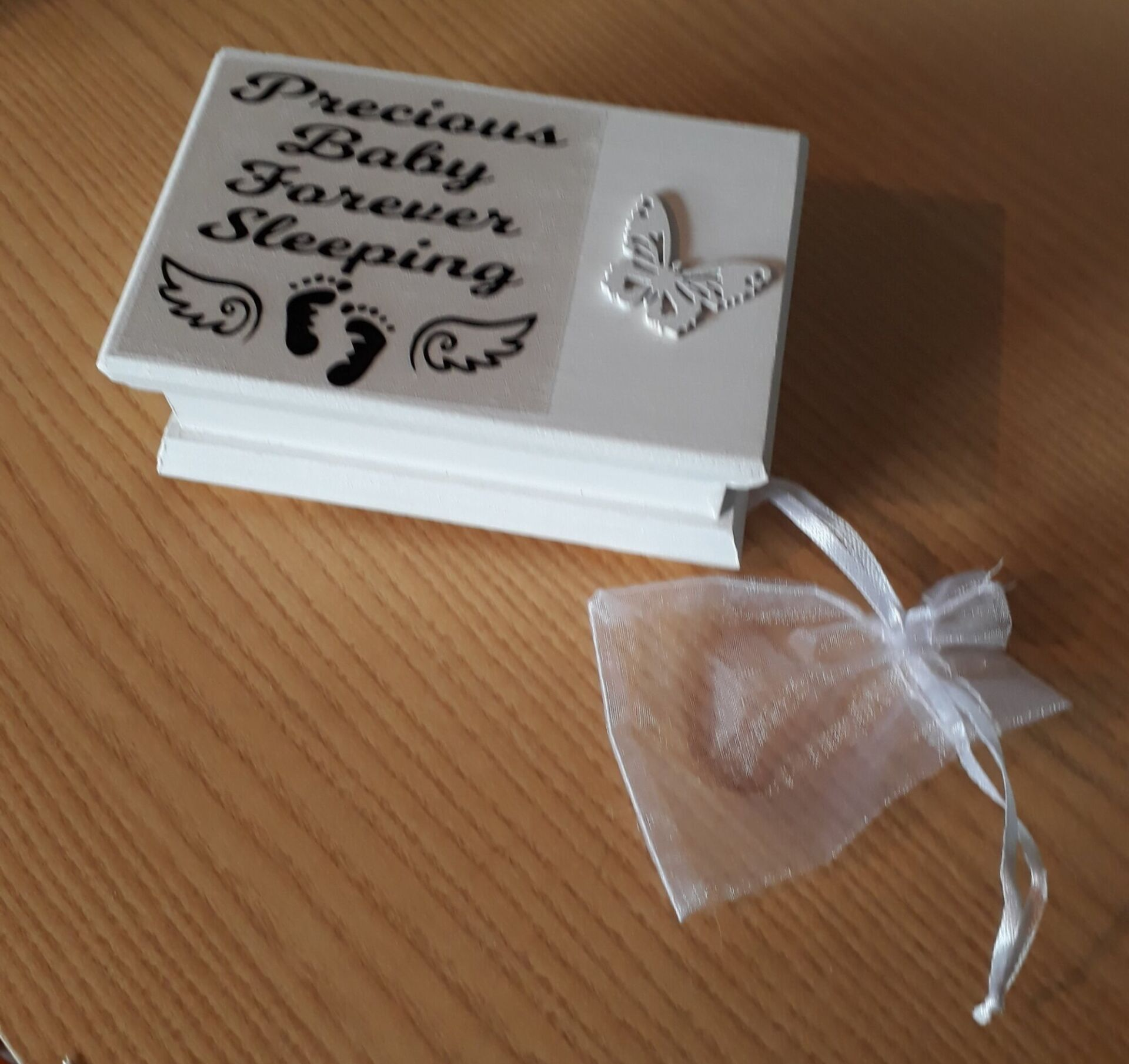 mini wooden ashes caskets baby stillborn at 24-30 weeks ANGELS WINGS