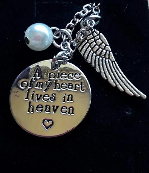 keepsake Memorial Jewellery ON ANGELS WINGS necklace to treasure