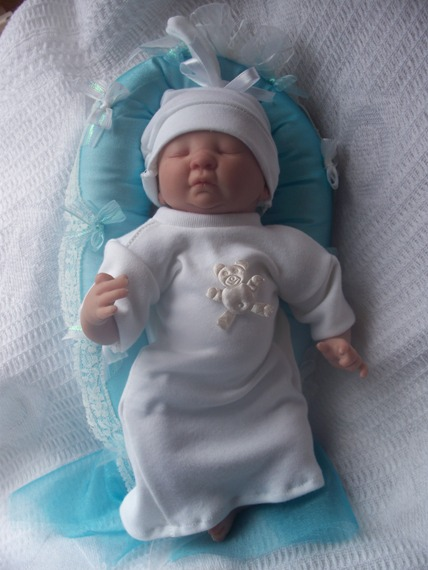 Stillborn baby burial clothes SLEEPING BUNNY WHITE tiny sizes