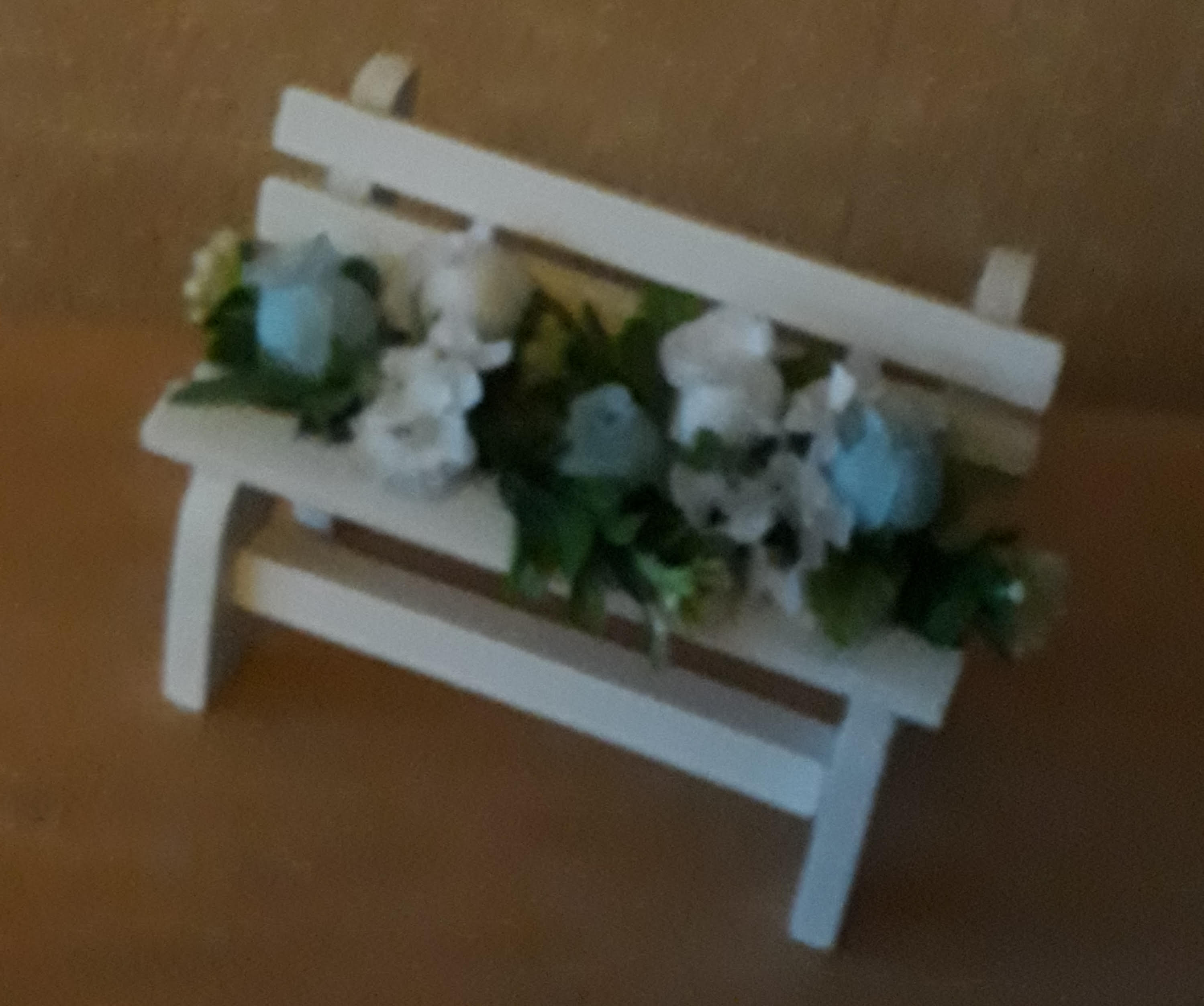 mini memorial bench for baby garden of remembrance artificial flowers blue