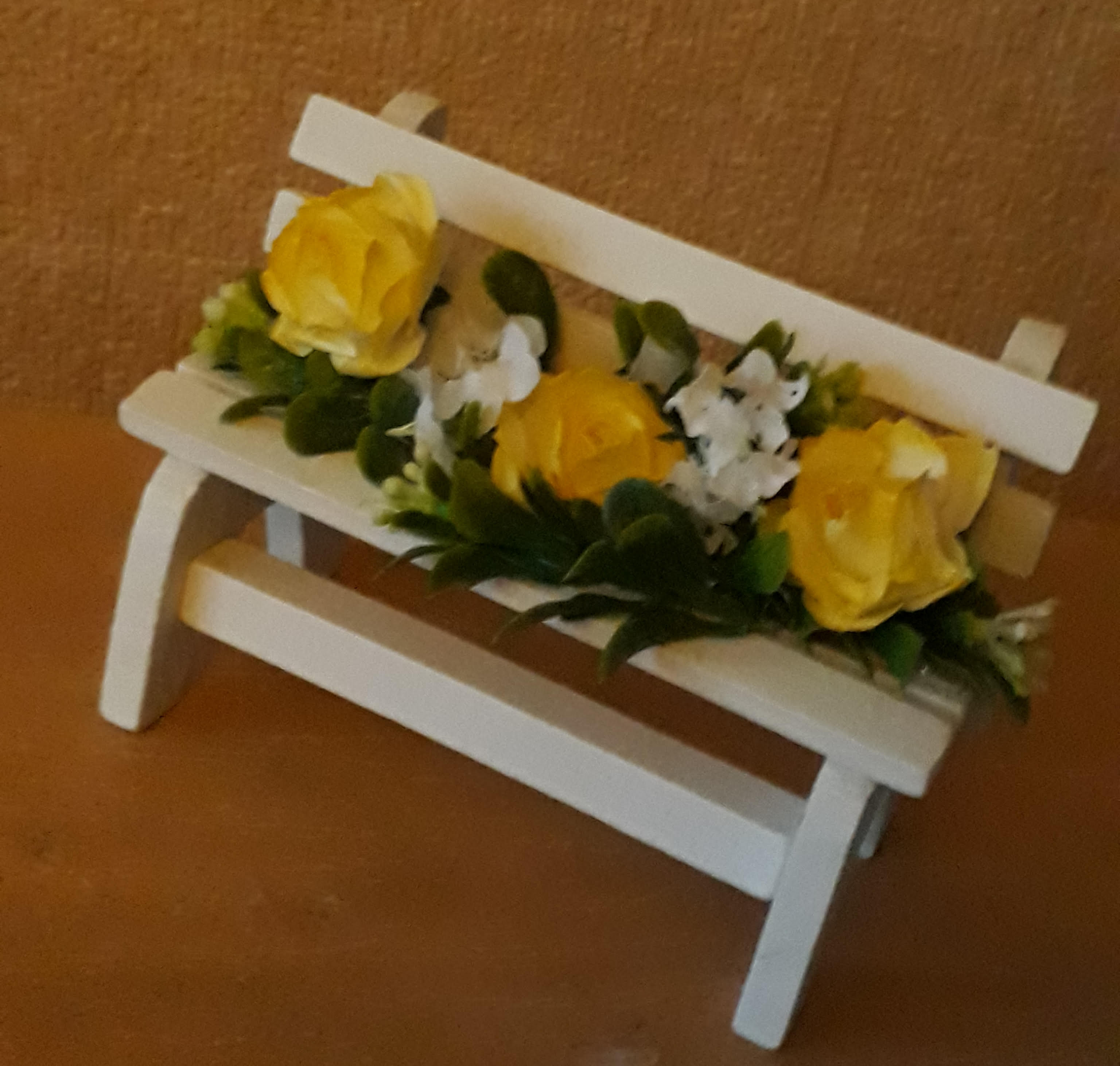 white mini bench baby miscarriage graveside or garden urn lemon artificial flowers