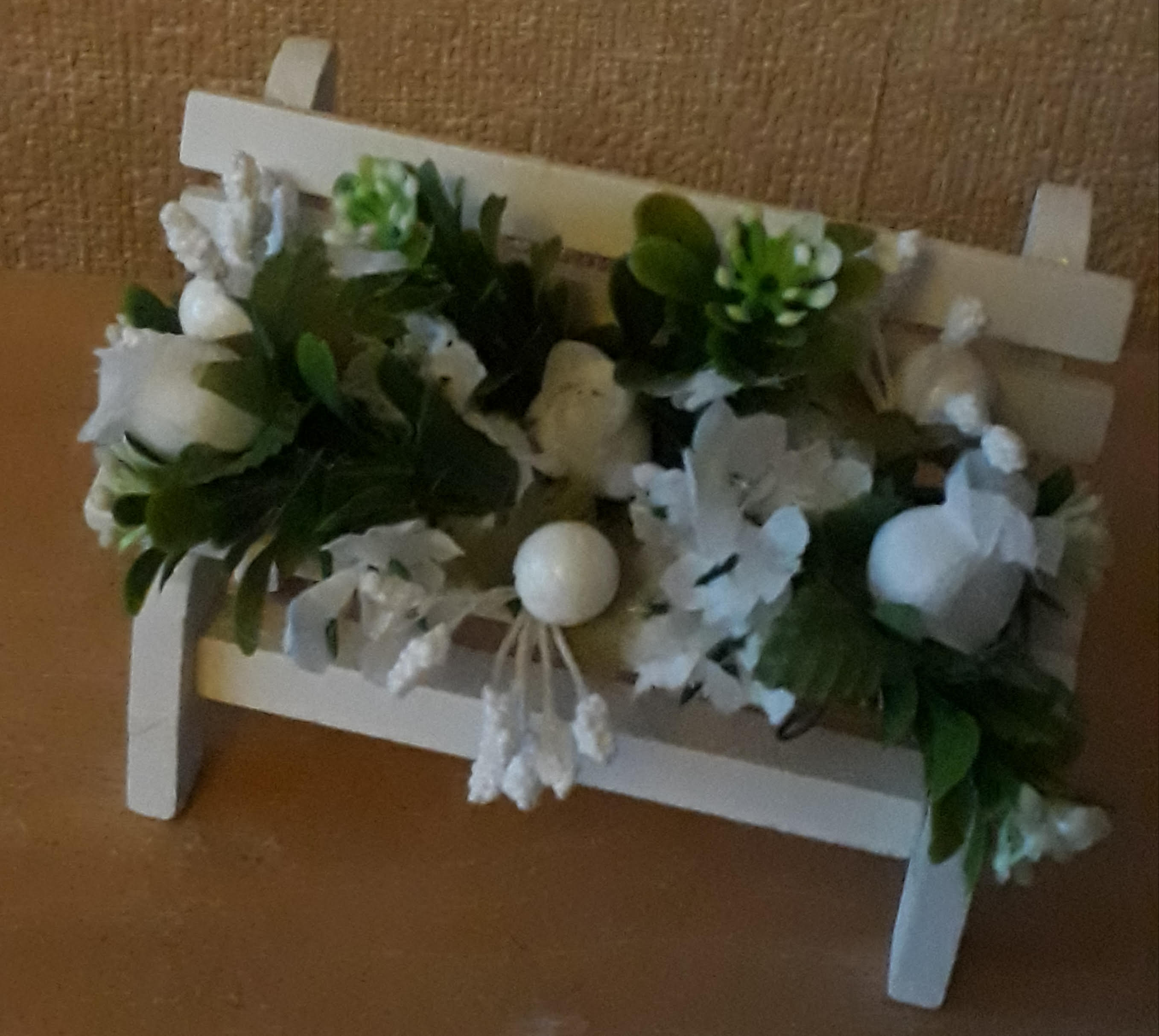 memorial benches baby garden graveside artificial flowers in white