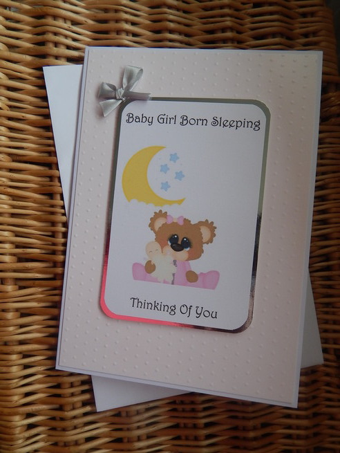 baby sympathy card a girl STARS OF WONDER pink