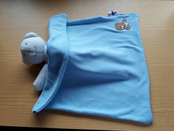 babies burial funeral blanket casket BOOBOO BEAR blue motif born 22-24 weeks