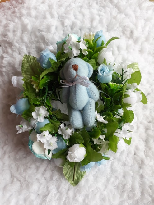 funeral flowers lancashire tiny baby coffin wreath BLUE TEDDY