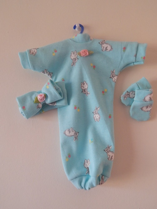 cutest baby burial gown full dress set BUNNY KINGDOM born 20-22 weeks