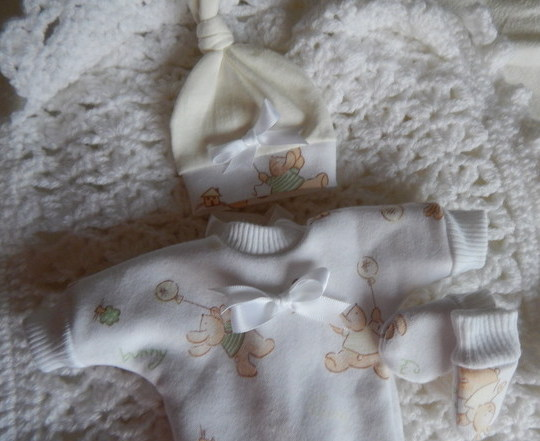 OOAK infant burial clothes Unisex born 20 weeks miscarriage FLYING HIGH