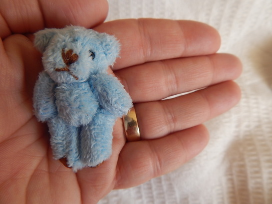 Baby Burial funeral little teddy bears MERINO memory box 4.5cm BLUE